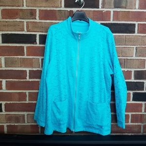 Denim & Co Aqua Blue Lace Jacket